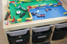 DIY Lego table from 2 Trofast shelves and tubs