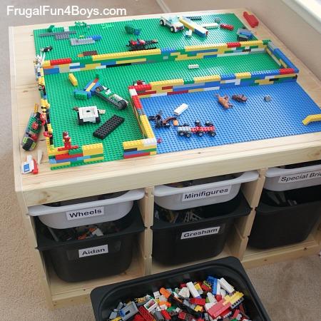 DIY Lego table from 2 Trofast shelves and tubs (via frugalfun4boys.com)