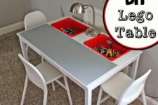 DIY Lego table from IKEA Ingo Dining Table and IKEA Trofast buckets