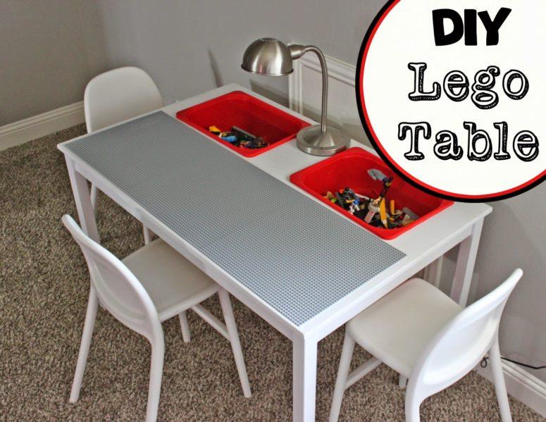 DIY Lego table from IKEA Ingo Dining Table and IKEA Trofast buckets (via alittleofthis---alittleofthat.blogspot.ru)