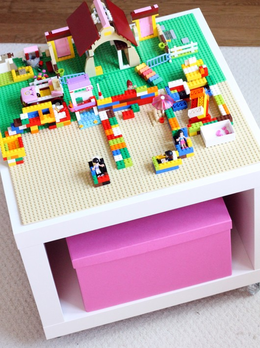 DIY Lego table from IKEA Lack side table on casters (via thedecoratedcookie.com)