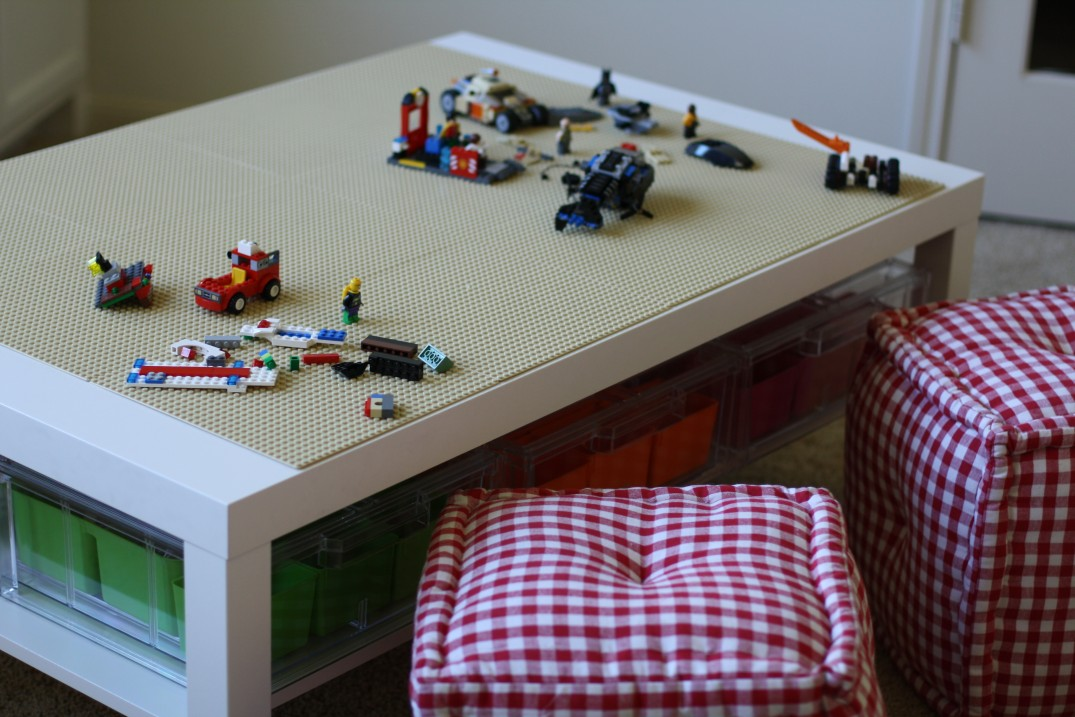 DIY Lego table from IKEA Lack coffee table and clear shirt drawers