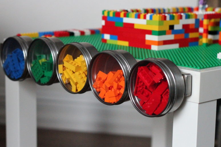 ultimate DIY Lego table with magnet holders from IKEA Lack (via kojo-designs.com)