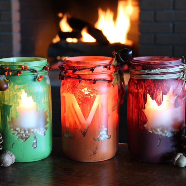12 cool diy mason jar crafts to welcome fall shelterness for Mason jar candle crafts