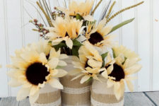 DIY fall vase with burlap and lace trim