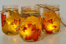 DIY mason jar and fall leaves caandle holders