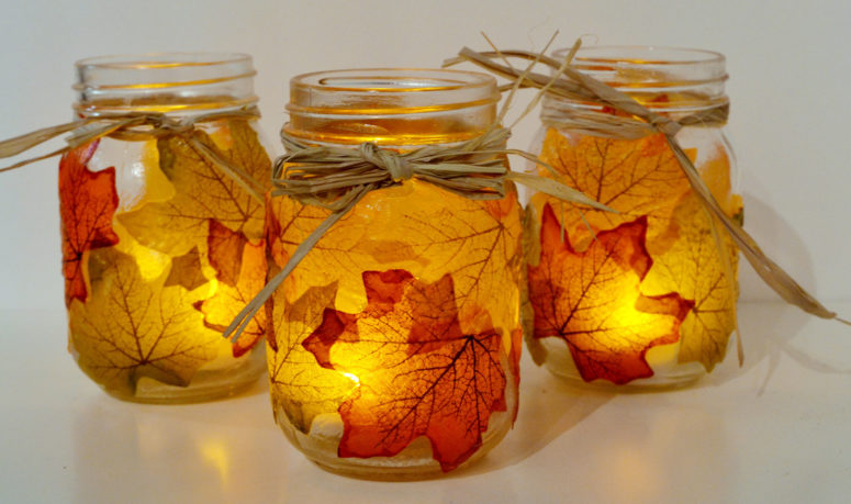 DIY mason jar and fall leaves caandle holders (via www.sparkandchemistry.com)