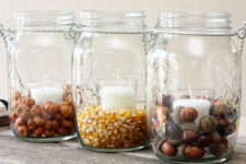 DIY fall hanging lanterns with nuts inside