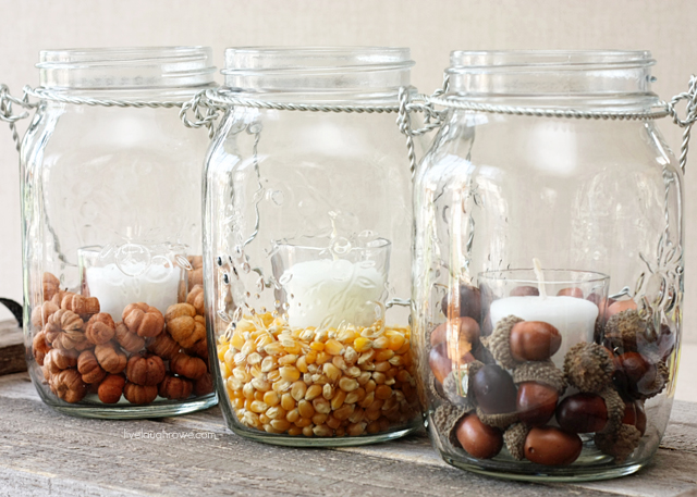DIY fall hanging lanterns with nuts inside (via livelaughrowe.com)
