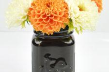 DIY black and gold dot fall mason jar vase