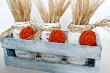 DIY distressed white mason jar vases for a centerpiece