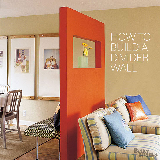 DIY bold orange free-standing divider wall (via www.bhg.com)