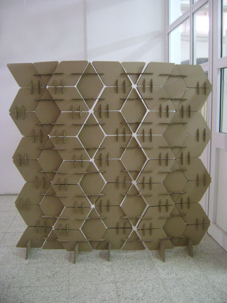 DIY cardboard room divider with a texture and volume (via www.instructables.com)