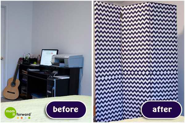 DIY chevron room divider and dressing screen (via momitforward.com)