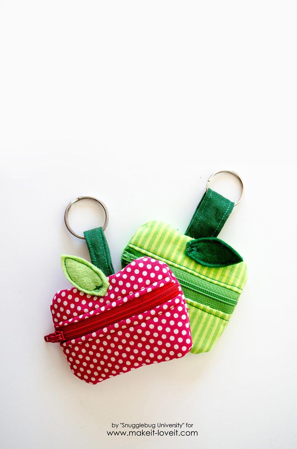 DIY lunch money zippered apple pouch