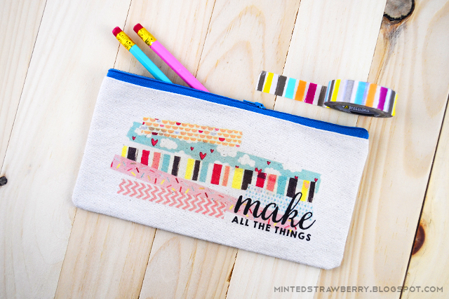DIY washi tape printed pouch for pencils