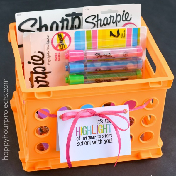 DIY sharpie teacher's gift in a plastic crate (via happyhourprojects.com)