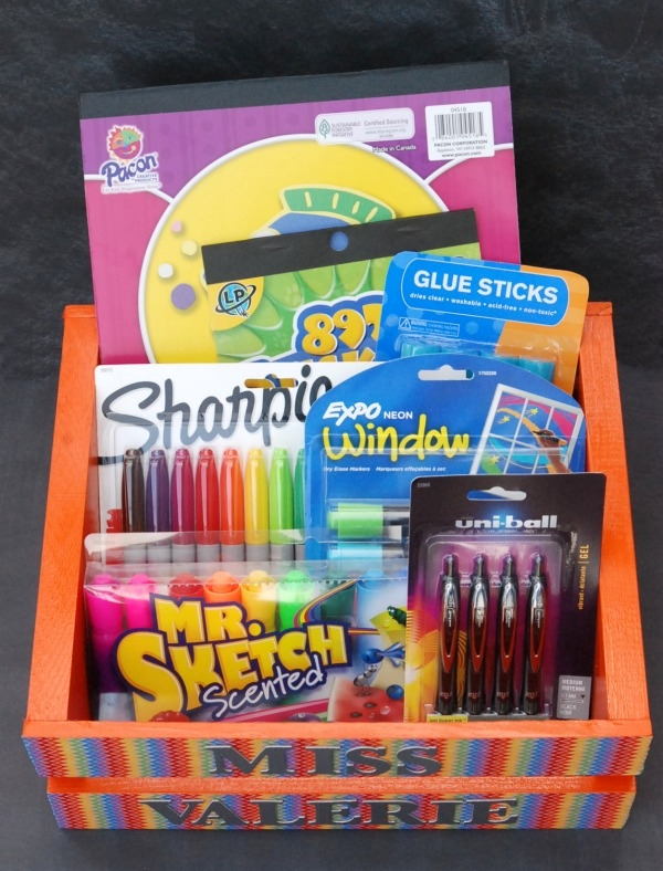 DIY back to school teacher's gift in a wooden crate (via endlesslyinspired.com)