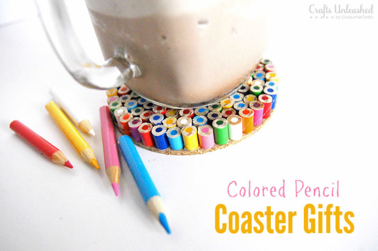 DIY colored pencil coasters for teachers (via blog.consumercrafts.com)