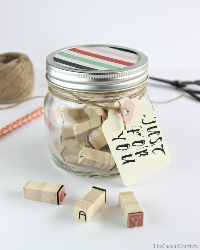 DIY alphabet stamp teacher's gift in a jar (via www.thecasualcraftlete.com)