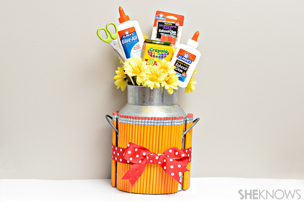 DIY school supply bouquet in a galvanized vase (via www.sheknows.com)