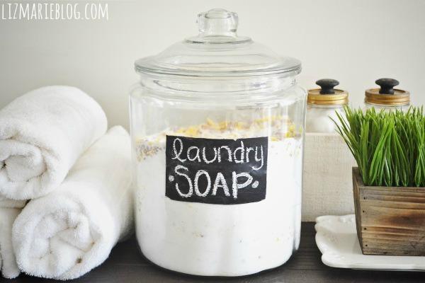 DIY laundry soap for sensitive skin (via www.lizmarieblog.com)