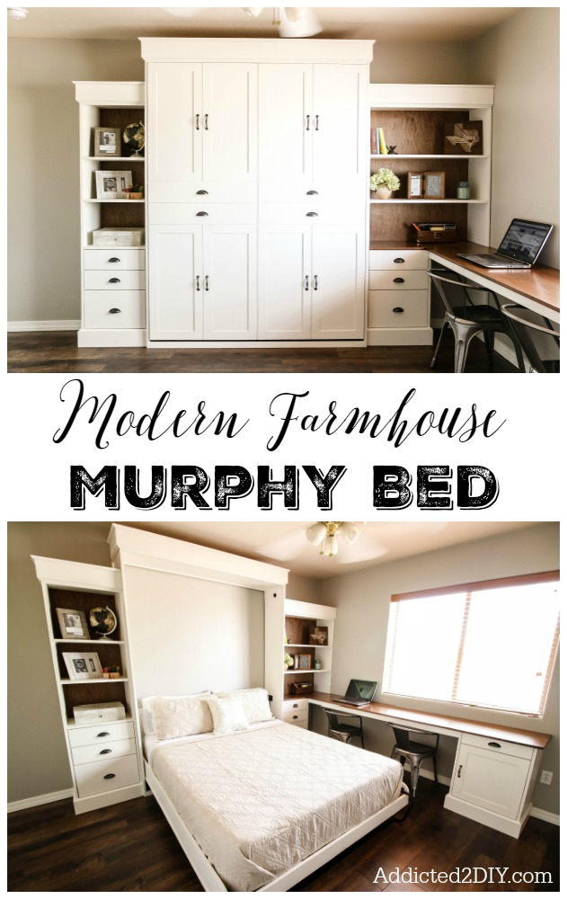 DIY modern farmhouse murphy bed (via addicted2diy.com)