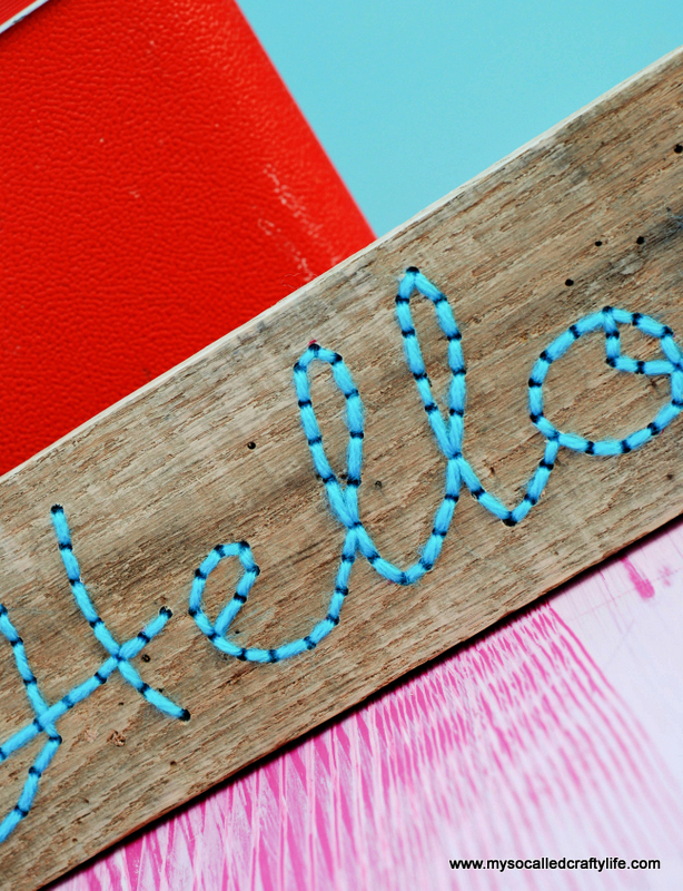 DIY embroidered wood pallet art (via www.mysocalledcraftylife.com)