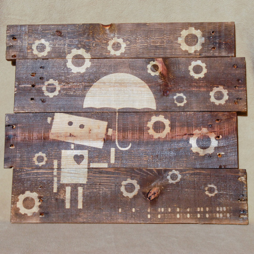 DIY wall art on a stained pallet (via www.domesticated-engineer.com)