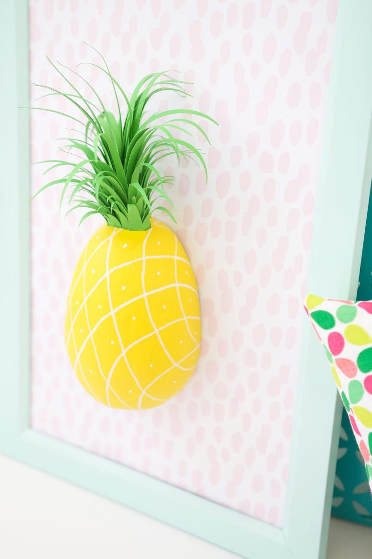 DIY paper mache pineapple wall art in a frame (via damasklove.com)