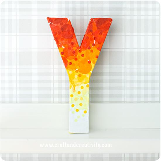 DIY decoupage ombre orange and yellow monograms (via craftandcreativity.com)