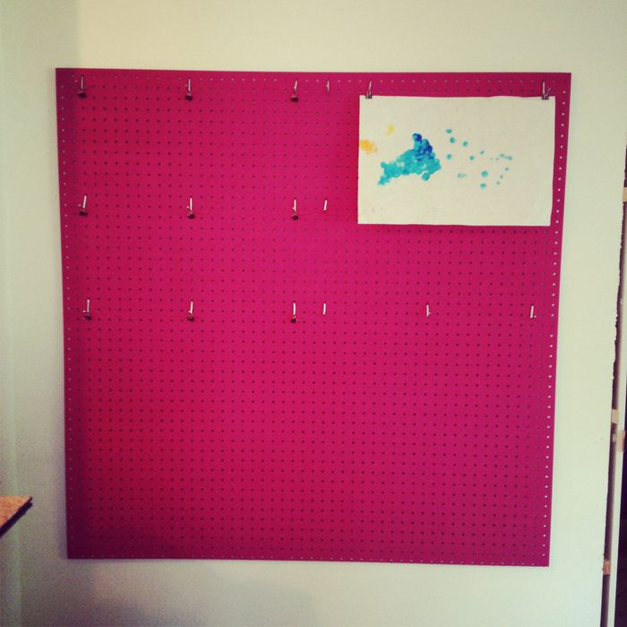 DIY pink pegboard for a glam home office (via lovelychaos.typepad.com)