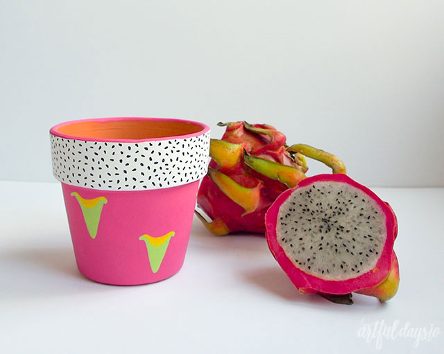 DIY dragon fruit pink pot (via artfuldays.io)