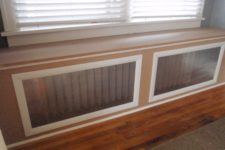 DIY window seat radiator cover that doubles as a bench