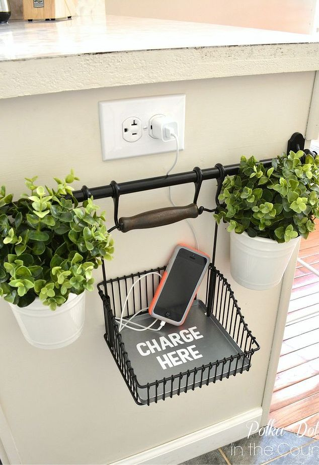 DIY hanging charging station from IKEA Fintrop rack (via www.hometalk.com)