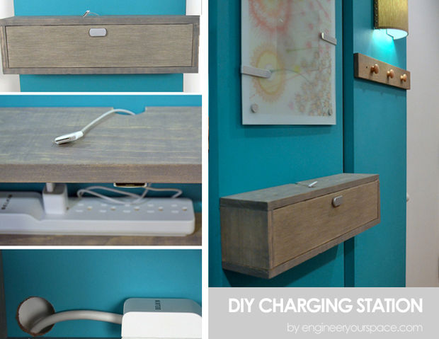 DIY wall mount wooden charging cabinet (via www.instructables.com)