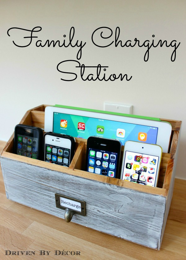 DIY vintage charging box from reclaimed wood (via www.drivenbydecor.com)