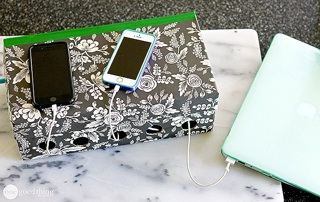 DIY family charging station from a shoe box (via www.onegoodthingbyjillee.com)
