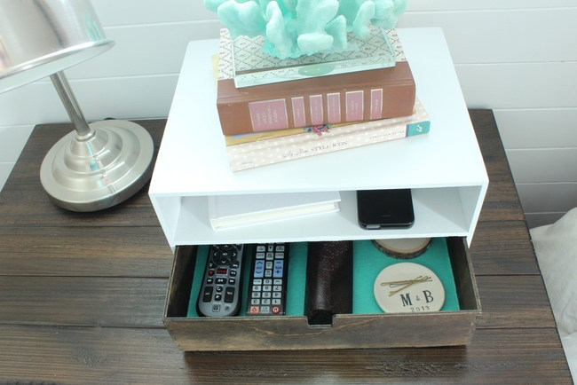 DIY bedside charging station from a drawer unit (via thediyplaybook.com)