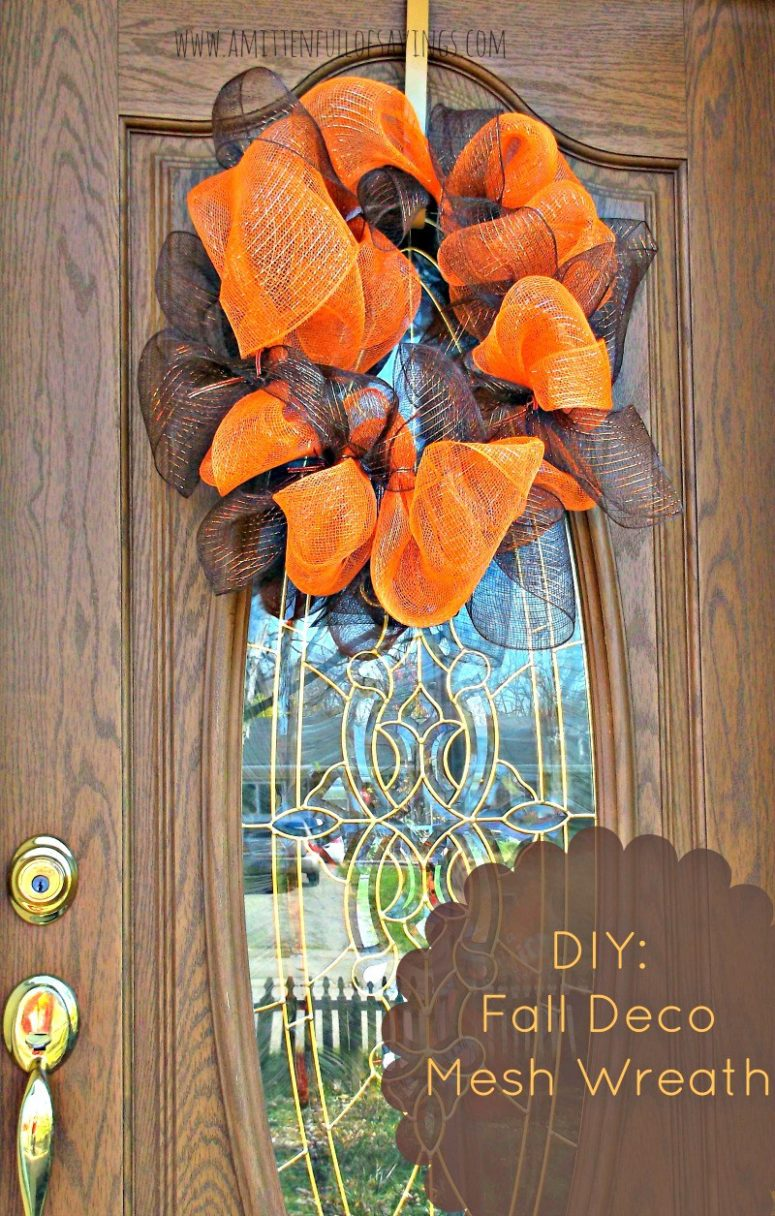 DIY brown and orange mesh wreath with no decorations (via www.awortheyread.com)