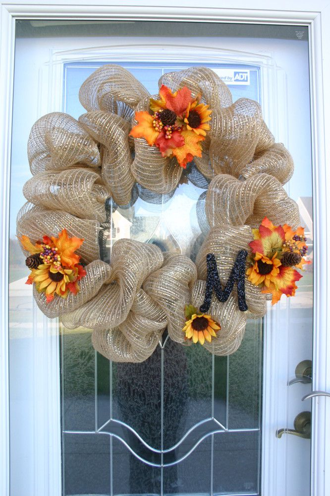 12 easy diy deco mesh wreaths for fall shelterness. Black Bedroom Furniture Sets. Home Design Ideas