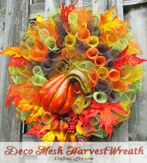 DIY bold deco mesh wreath with a large faux gourd (via https:)