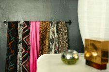 DIY IKEA Fintorp rail as a scarf organizer