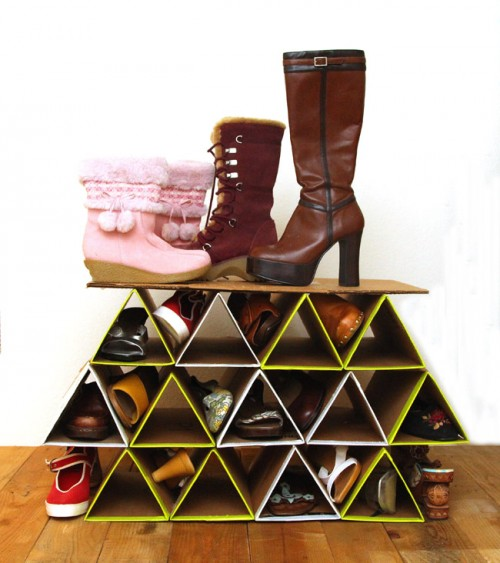 DIY geometric shoe rack of cardboard (via www.shelterness.com)