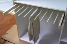 DIY sliding pants rack for a closet