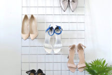 DIY grid heel display for a closet or entryway