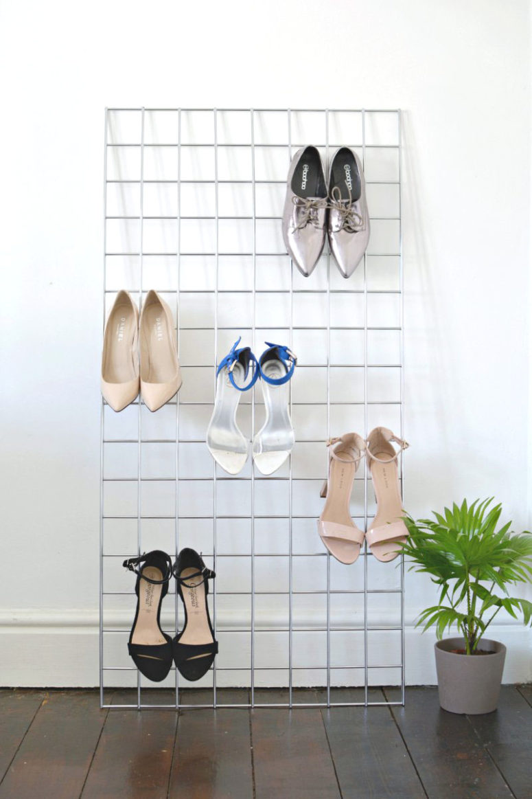 DIY grid heel display for a closet or entryway (via www.burkatron.com)