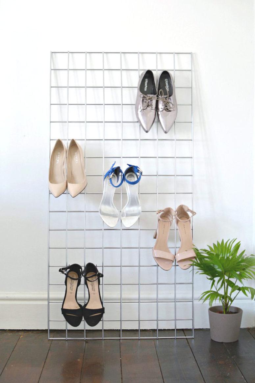 DIY grid heel display for a closet or entryway (via www.burkatron.com)