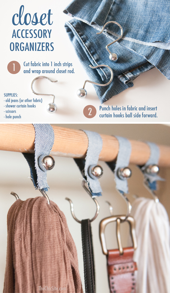 DIY shower hook accessories organizer (via www.thechicsite.com)