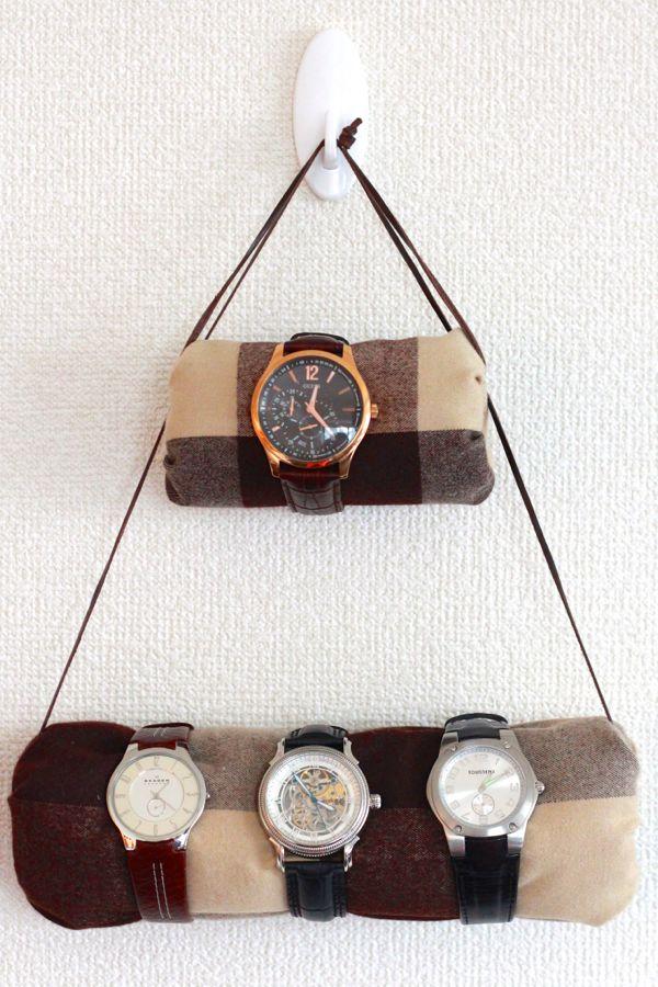 DIY hanging watch holder with rolls (via www.alyssaandcarla.com)